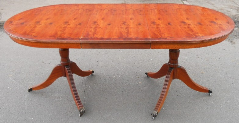 Yew Wood Extending Twin Pillar Dining Table To Seat Six